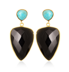 Aria-V Ani teardron shaped earrings hancrafyed with faceted black agate and heart shaped polished turquoise studs