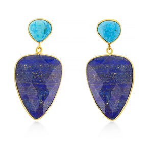 Aria-V Abi stayent earrimgs handcragted with faceted heart shaped lapis Lazuli and polished turquoise studs