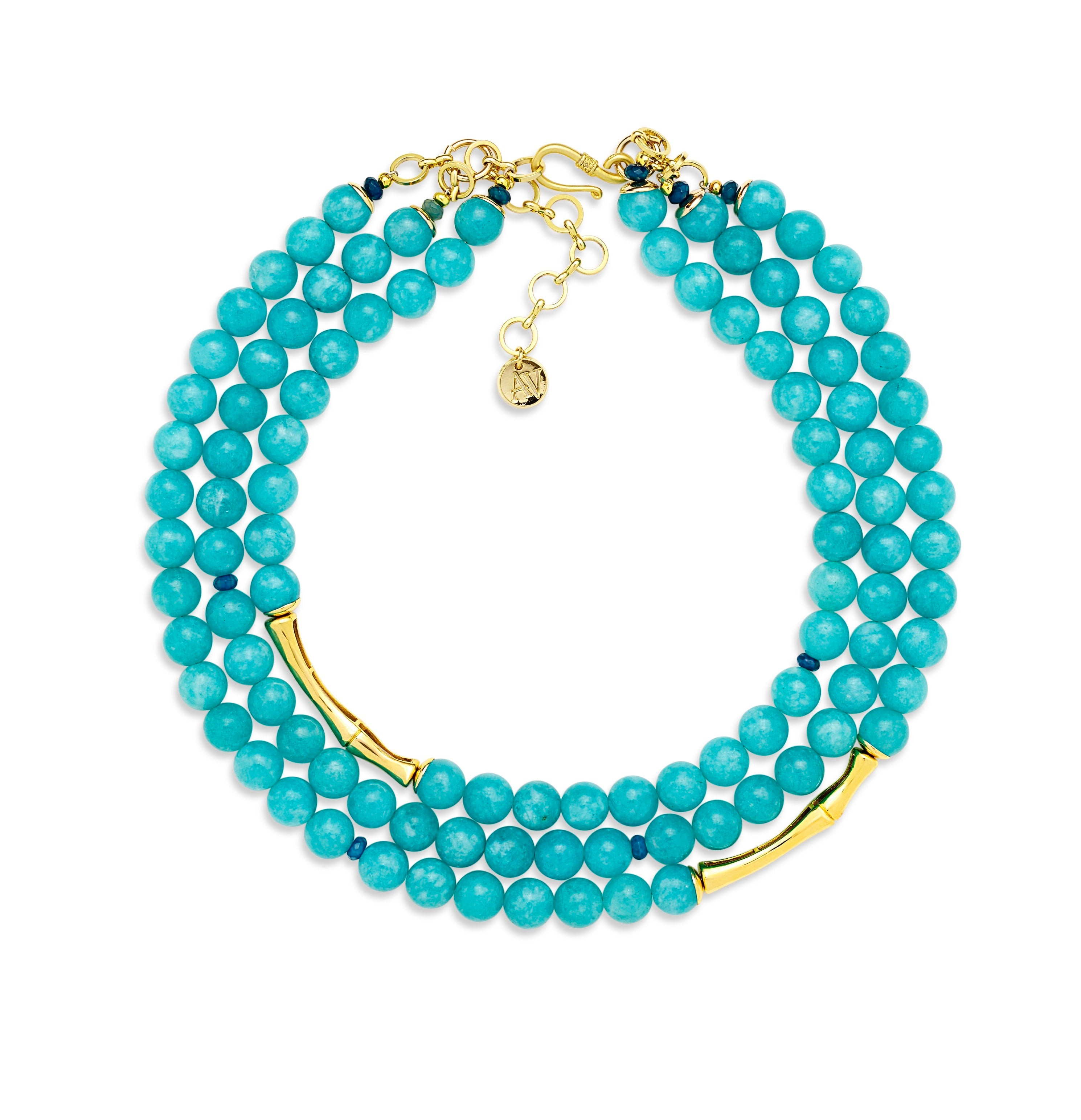 Aria-V three strands blue Jade necklace