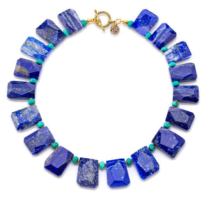 Aria-V Atlas lapis lazuli and turquoise statement necklace