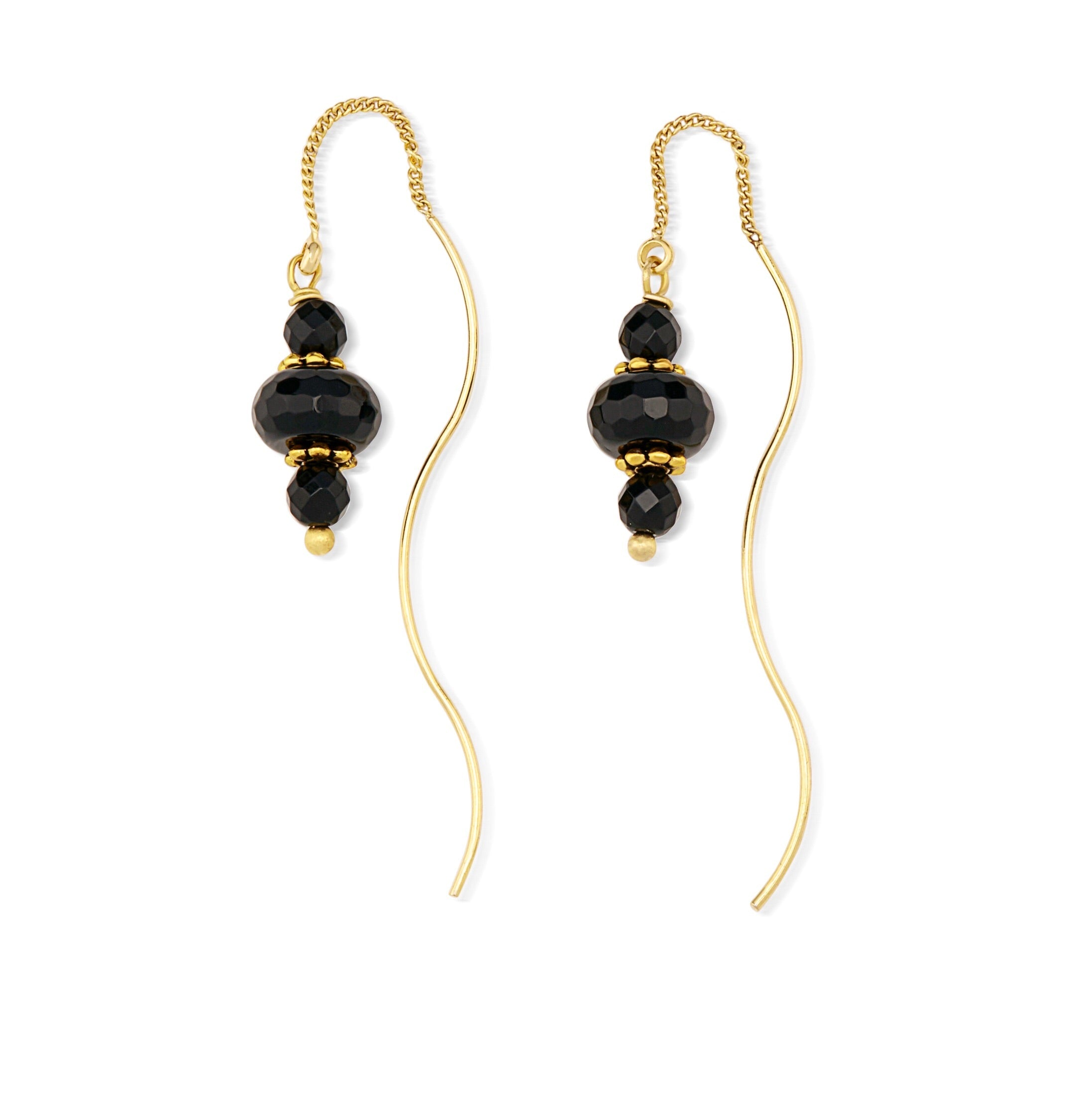 Aria-V Freia thread style earrings handcrafted with facted black agate stones set on brass 16k elcetroplated wires