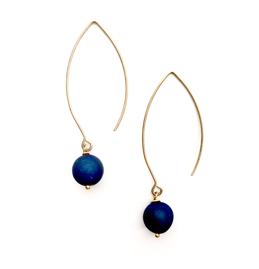 Aria-V Cali earrings, handcrafted with metallic navy polished quartz and 16k gold plated brass earwires