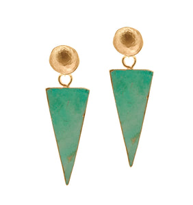 Aria-V Avantgarde triangle shaped turquoise earrings