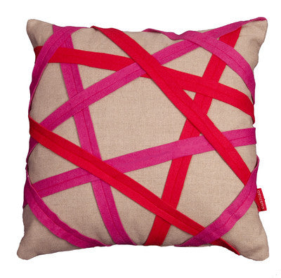Pink and red linen binding cushion