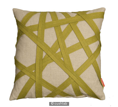 Green and linen binding cushion