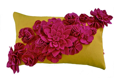 Floral yellow and pink cushion