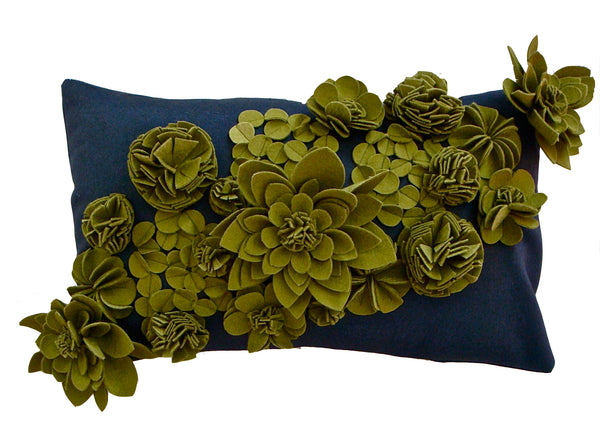 Sage green and thunder blue floral cushion