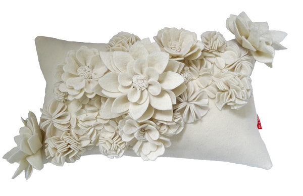 3D Floral cream cushion