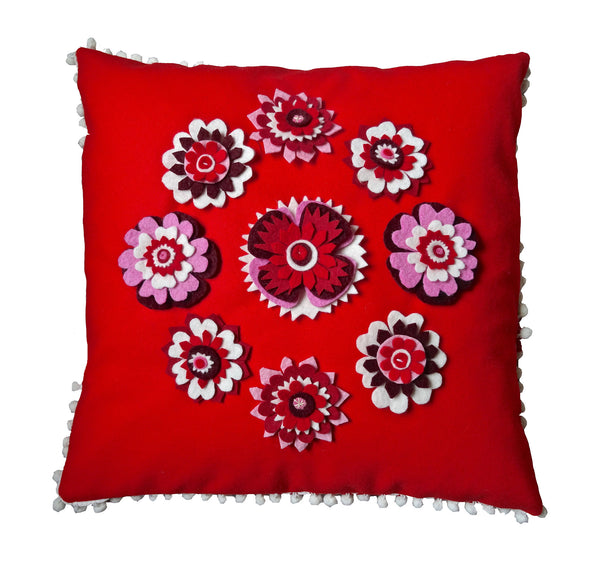 Red Nordic inspired floral cushion