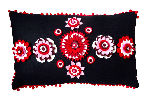Black and Red Nordic inspired floral cushion
