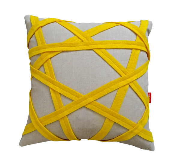 Yellow and linen binding cushion