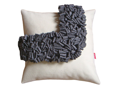 Cream and grey loop cushion
