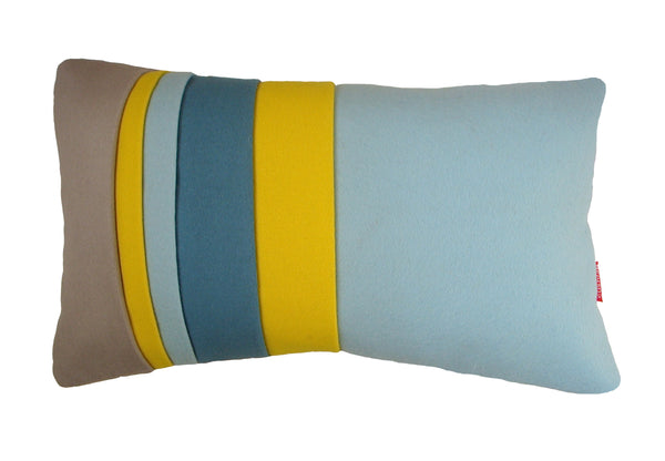 Blue, grey and acid yellow layer cushion
