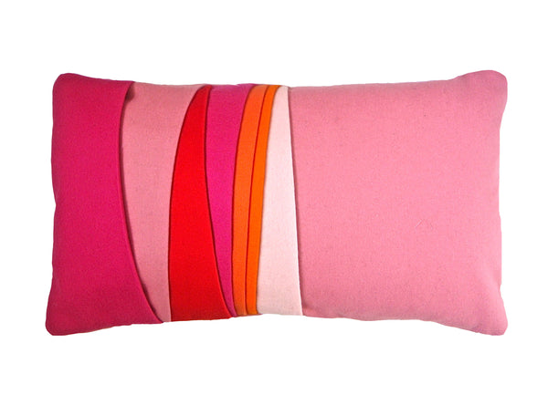 Mixed pinks, red and orange layer cushion
