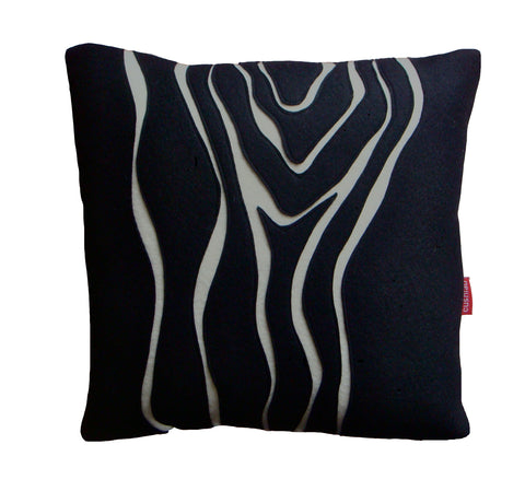 Black and cream woodgrain cushion (square)