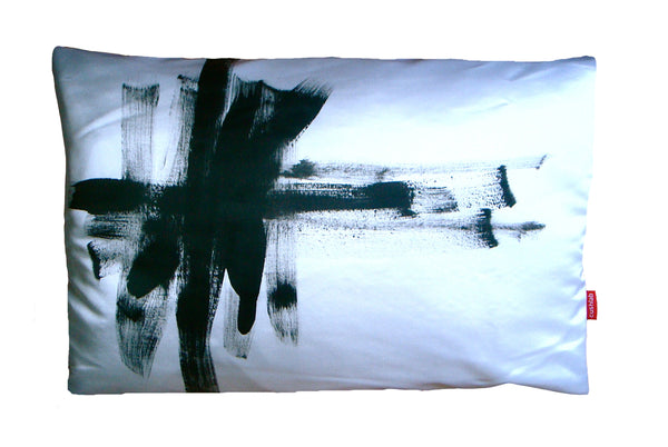 Black and white art cushion