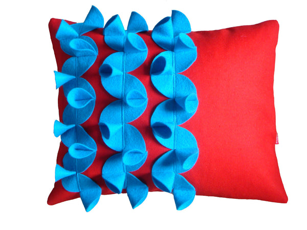 Origami (A) blue and scarlet cushion