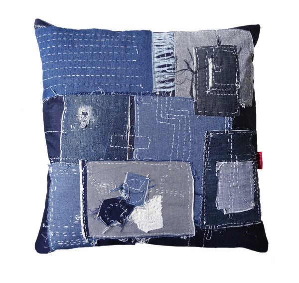 Boro stitched denim cushion