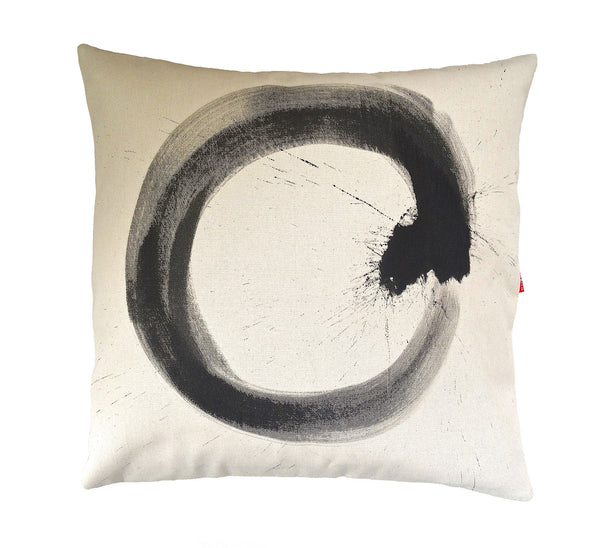 Square black on cream ensō influenced cushion