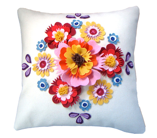 Folk floral cushion Multi-coloured