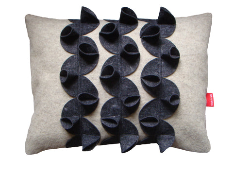 Origami (A) grey and oatmeal cushion