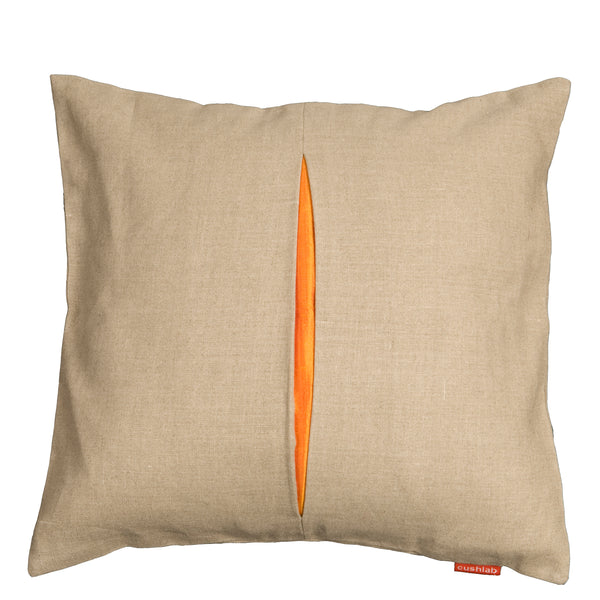 Orange slit linen cushion