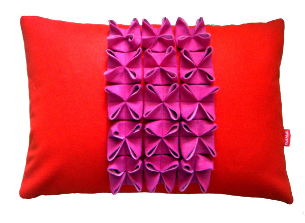 Origami (B) pink and red cushion