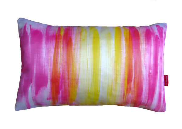 pink and yellow art cushion