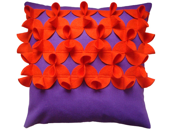 Origami (A) scorching orange and warm purple cushion