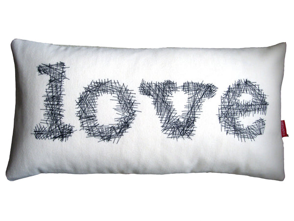 Embroidered cream and black sketchy LOVE cushion