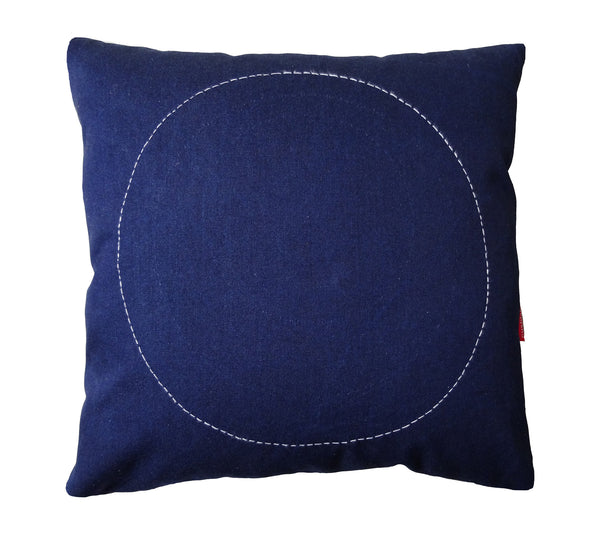 Stitched circle denim cushion