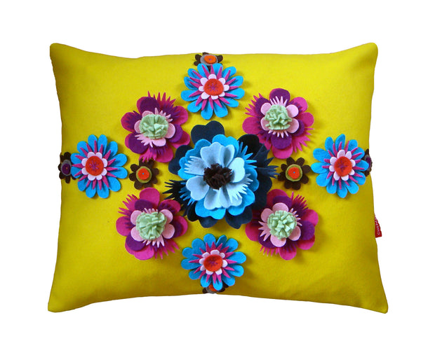 Yellow Folk floral cushion