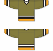 Load image into Gallery viewer, BRAMPTON OLIVE Sleeve Stripes Pro Blank Hockey Jerseys