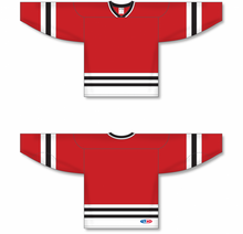 Load image into Gallery viewer, CHICAGO Red, White, Black Sleeve Stripes Pro Blank Hockey Jerseys