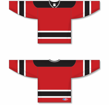 Load image into Gallery viewer, NEW JERSEY RED Sleeve Stripes Pro Blank Hockey Jerseys