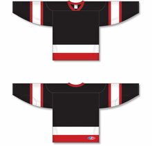 Load image into Gallery viewer, Ottawa Black, Red, White Sleeve Stripes Pro Blank Hockey Jerseys