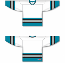 Load image into Gallery viewer, SAN JOSE WHITE Sleeve Stripes Pro Blank Hockey Jerseys