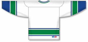 VANCOUVER WHITE Sleeve Stripes Pro Blank Hockey Jerseys