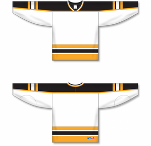 BOSTON WHITE Knitted Body And Sleeve Stripes Pro Blank Hockey Jerseys