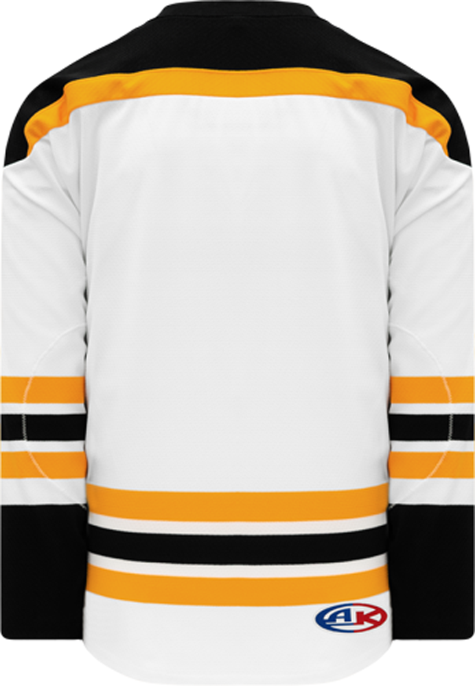2007 BOSTON WHITE Knitted Body And Sleeve Stripes Blank Hockey Jerseys