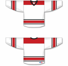 Load image into Gallery viewer, 2013 CAROLINA WHITE Knitted Body And Sleeve Stripes Pro Blank Hockey Jerseys
