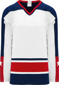 COLUMBUS WHITE V-neck Pro Blank Hockey Jerseys