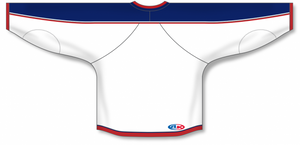 2010 COLUMBUS WHITE Taper Neck With Underlay Blank Hockey Jerseys