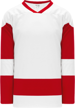 Load image into Gallery viewer, DETROIT WHITE Sleeve Stripes Pro Blank Hockey Jerseys
