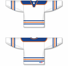 Load image into Gallery viewer, EDMONTON WHITE Square V-neck With Underlay Blank Hockey Jerseys