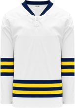 Load image into Gallery viewer, 2011 MICHIGAN WHITE Lace Neck Pro Blank Hockey Jerseys
