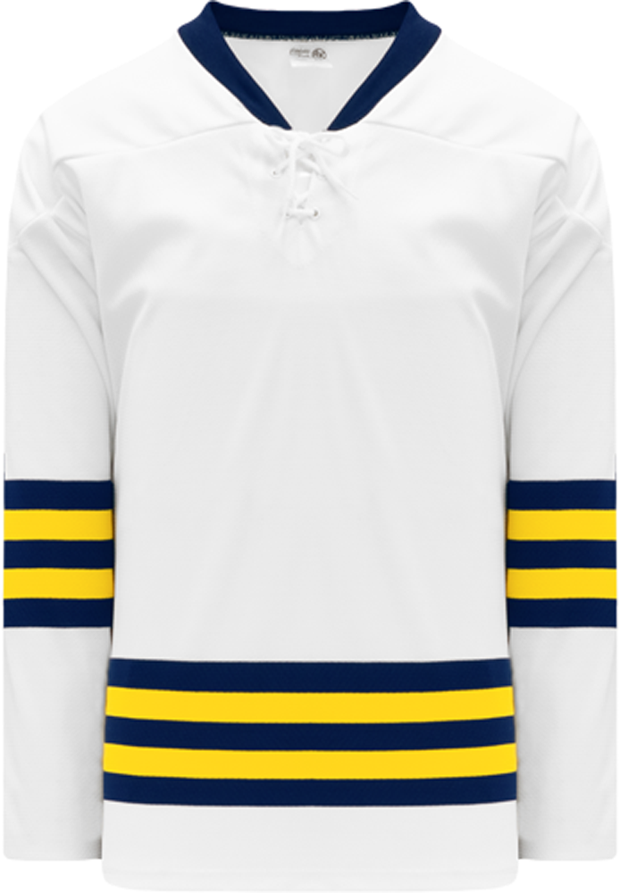 2011 MICHIGAN WHITE Lace Neck Pro Blank Hockey Jerseys