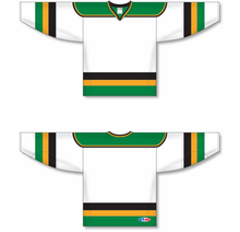 Load image into Gallery viewer, MINNESOTA WHITE WITH BLACK STRIPE Pro Blank Hockey Jerseys