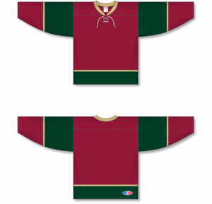 MINNESOTA WILD 3RD AV RED Lace Neck Pro Blank Hockey Jerseys