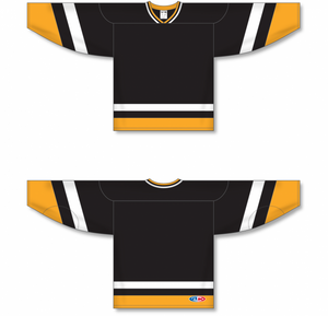 PITTSBURGH BLACK Crossover V-neck Pro Blank Hockey Jerseys